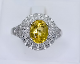 23.81 Crt Natural Citrine With Cubic Zirconia 925 Silver Ring