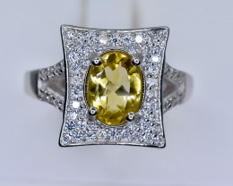 21.79 Crt Natural Citrine With Cubic Zirconia 925 Silver Ring