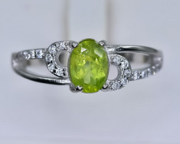 15.19 Crt Natural Peridot With Cubic Zirconia 925 Silver Ring