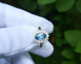 16.00 Carats cambolite blue zircon 925 Silver Ring with cz, 9x6x4mm.