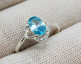 Natural Blue Zircon 10.70 Carats 925 Silver Ring N53