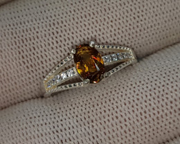 Natural Fire Sphene (Titanite) 10.00 Carats 925 Silver Ring I52
