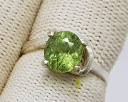 Natural Green Rutile Peridot Solitaire Ring 925 Sterling Silver