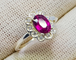 Natural Rhodolite Garnet CZ Ring 925 Sterling Ring