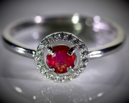 Tajik Ruby .70ct White Gold Finish Solid 925 Sterling Silver Ring