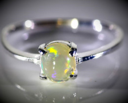 White Opal .80ct Platinum Finish Solid 925 Sterling Silver Ring
