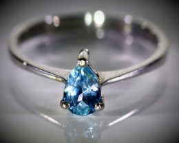 Aquamarine .70ct Solid 925 Sterling Silver Ring