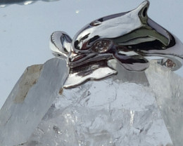 natural  diamond, dolphin sterling silver ring