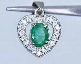 14.07 Crt Natural Emerald With Cubic Zirconia  925 Silver Pendant