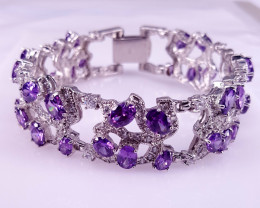 Natural Amethyst and CZ Bracelet.