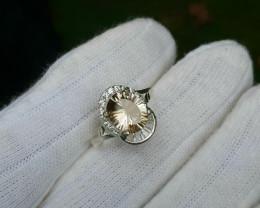 Natural Ametrine (Bolinianite) 17.00 Carats 925 Silver Ring, 10x7x4mm.