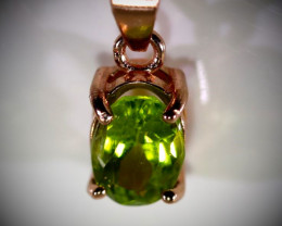 Delivery in USA within 4 workdays Peridot .80ct Rose Gold Finish Solid 925
