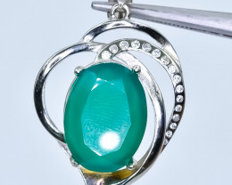 26.29 Crt Natural Green Agate With Cubic Zirconia 925 Silver Pendant