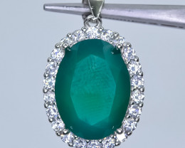 26.41 Crt Natural Green Agate With Cubic Zirconia 925 Silver Pendant