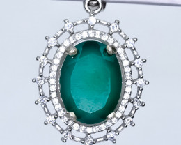 32.70 Crt Natural Green Agate With Cubic Zirconia 925 Silver Pendant