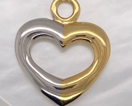 7.6 GRAMS 18 K GOLD RING FINDING POLISHED HEART PENDANT L291