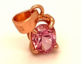 Tajik Pink Spinel .50ct Rose Gold Finish Solid 925 Sterling Silver Pendant