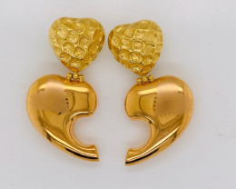 20.61 GRAMS  STYLISH 18K GOLD 2 TONE EARRING  L416