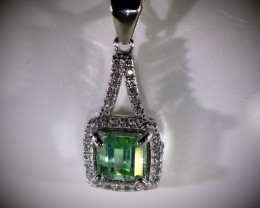 Mint Green Tourmaline 1.30ct White Gold Finish Solid 925 Sterling Silver Pe