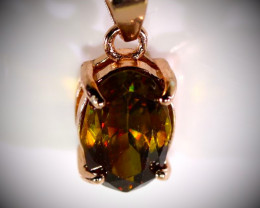 Sphene 1.00ct Rose Gold Finish Solid 925 Sterling Silver Pendant  Receive w
