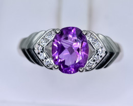 16.68 Crt Natural Amethyst 925 Sterling Silver Ring