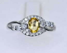 13.13 Crt Natural Citrine 925 Sterling Silver Ring