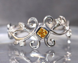 0.11ct Fancy Orange Yellow White Diamond Ring Authentic 14K White Gold BH04