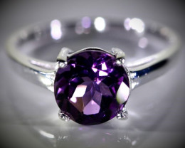Amethyst 1.52ct Platinum Finish Solid 925 Sterling Silver Ring