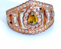 Sphene .90ct Rose Gold Finish Solid 925 Sterling Silver Ring