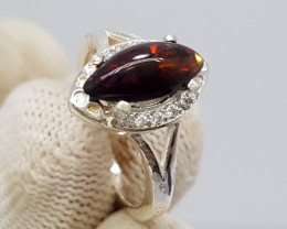 Natural Black Fire Opal 16.15 Carats 925 Starling  Silver N56