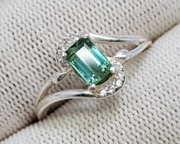 Natural Green Tourmaline 11.00 Carats 925 Starling Silver Ring I58
