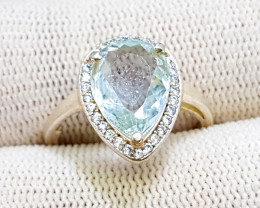 Natural Sea Blue Aquamarine Ring With Cubic Zirconia 925 Sterling Silver