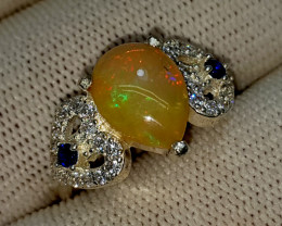 18.05 Cts Multi Fire Opal With Cubic Zirconia 925 Sterling Silver