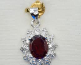 Natural Rhodolite Garnet, CZ and 925 Silver Pendant, Elegant Design