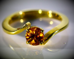 Hessonite 1.18ct Solid 18K Yellow Gold Ring