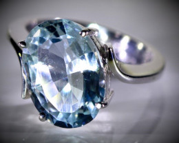 Aquamarine 5.10ct Solid 18K White Gold Ring