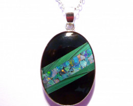 Hand crafted Mosaic Australian Opal and Malachite Pendant (z3544)