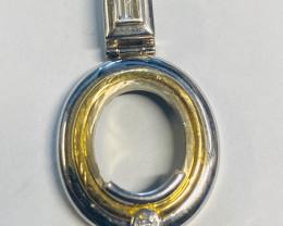 10.396 Grams 18 k white gold pendant setting LGN 951