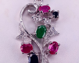 Natural Emerald,sapphire and Ruby Pendent.