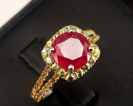 Natural Ruby and Sapphire Ring.