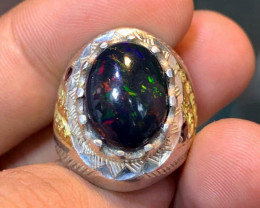 Natural Black Opal Men Ring.