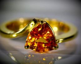 Mandarin Spessartine 2.20ct Solid 22K Yellow Gold Ring