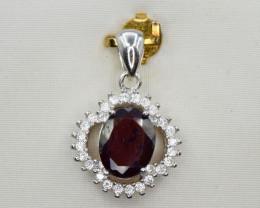 Natural Rhodolite, CZ and 925 Silver Pendant, Elegant Design