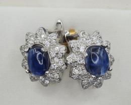 Natural Kyanite, CZ and 925 Silver Earring, Elegant Design