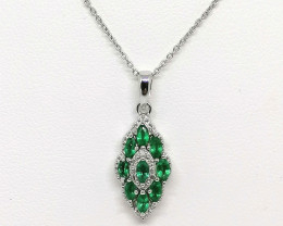Zambian Emerald and Diamond Pendant 1.05 TCW