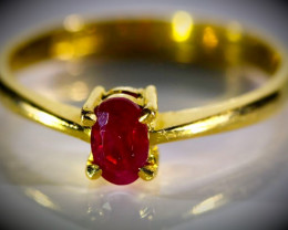 Kashmir Ruby .80ct Solid 22K Yellow Gold Ring