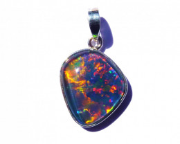 Hand Made Australian Triplet Opal and Sterling Silver Pendant (z3543)