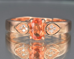 Natural Orange Sapphire, CZ and Gold Plated 925 Silver Ring