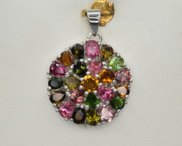 Natural Multicolor Tourmalines and925 Silver Pendant