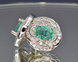 Natural Emerald, CZ and 925 Silver Earring, Elegant Design